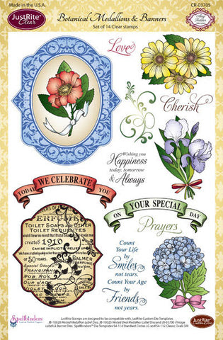 Botanical Medallions & Banners Clear Stamps