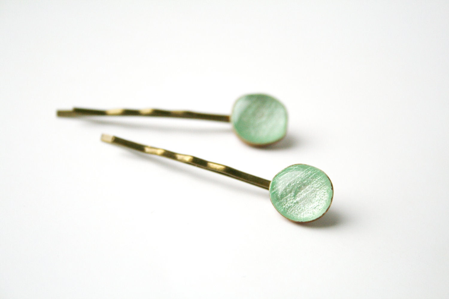mint green wood bobby pins , eco friendly , hair accessories , mint green hair pins , holiday accessories - starlightwoods