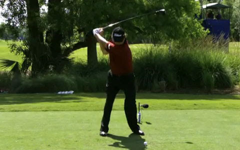 Dufner at top of backswing