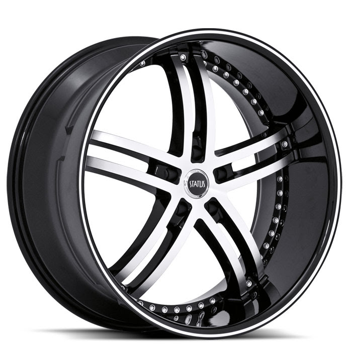 20 INCH Status Knight-5 BLACK Rims S816 - 5 Lug 05-17 (sizes available ...