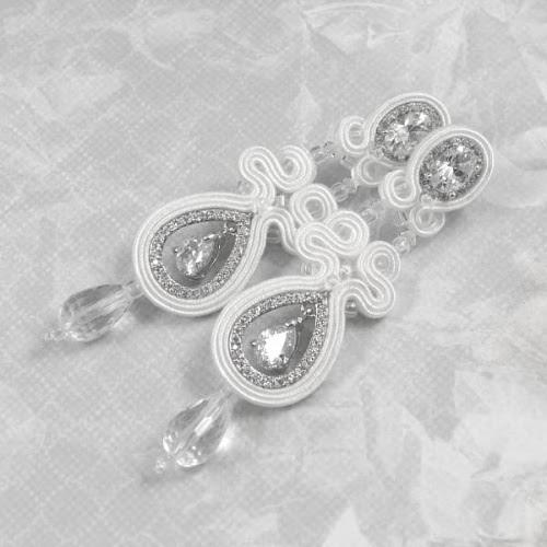 Długie kolczyki ślubne sutasz z kryształami, śnieżnobiałe