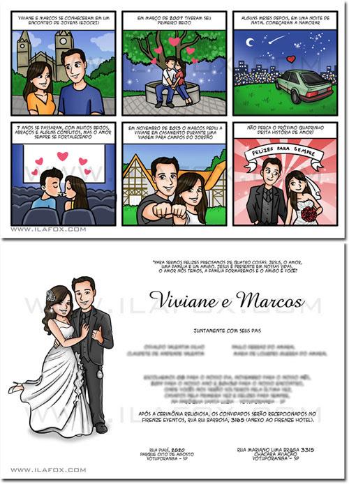 convite em quadrinhos, convite personalizado, convite noivos, convite história casal, convite original, by ila fox