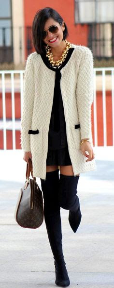 Winter to Spring 2014. Knit coat, blk dress & thigh high boots. The blk accented pockets are perfect. ::M::
