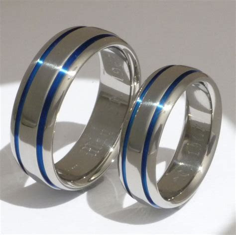 Thin Blue Line Titanium Ring Set   His and Hers Matching