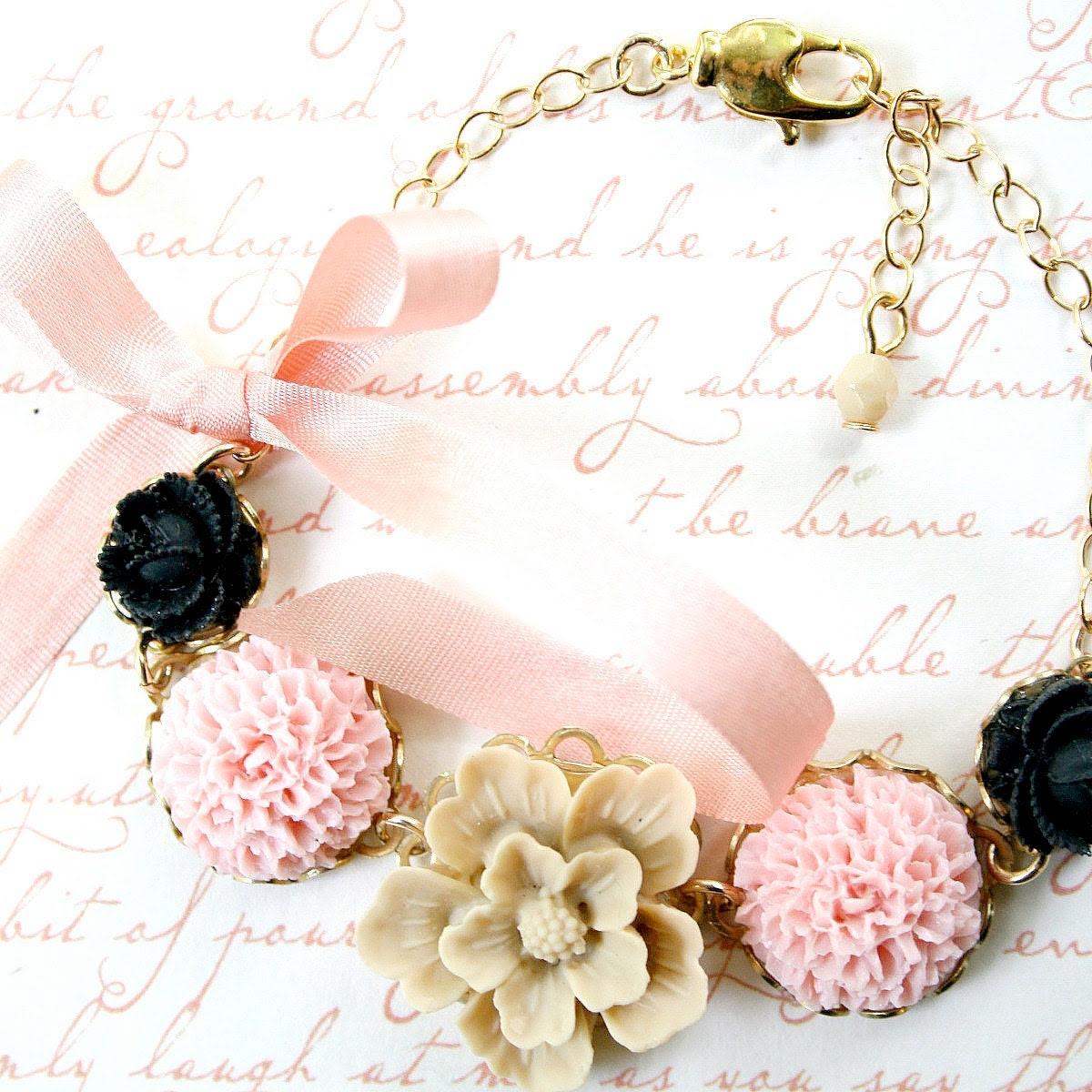 Blush and Black Adjustable Flower Bracelet