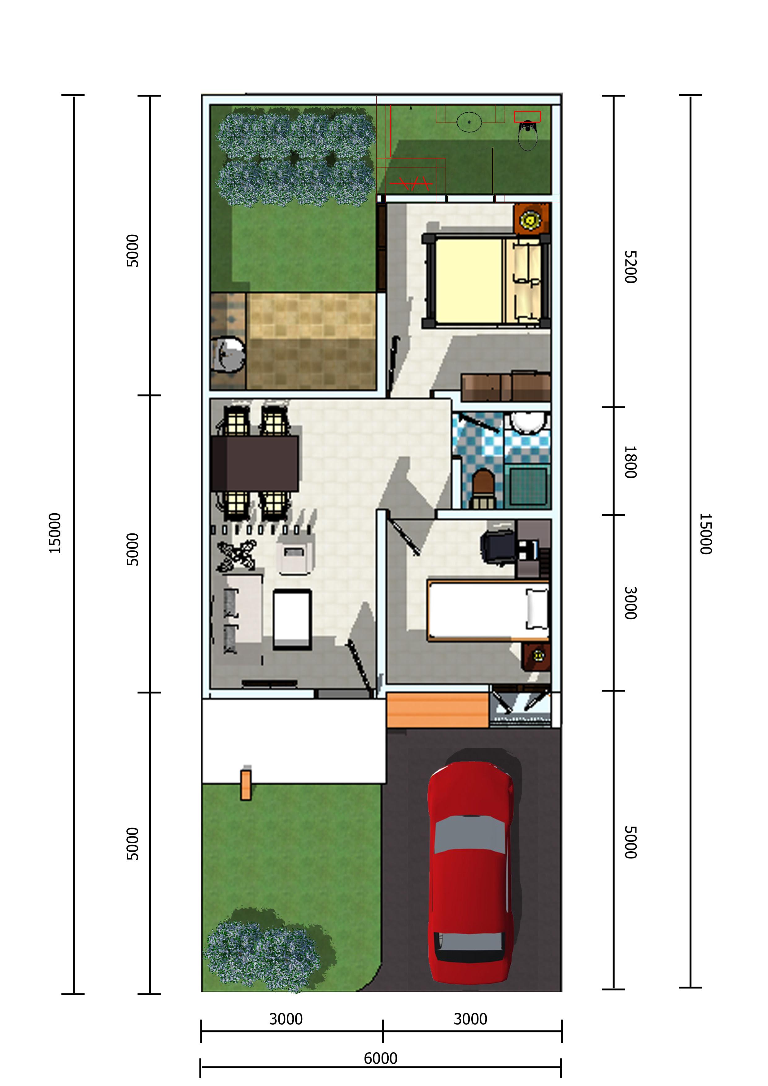 Denah Rumah Minimalis 1 Lantai Ukuran 5x12 Desain Rumah
