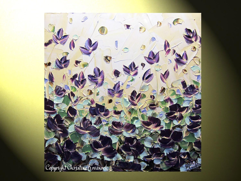 "Original Art Abstract Painting Textured, Purple Poppy Flowers Landscape, Modern Floral Lavender Violet Gold Palette Knife 24x24"" -Christine"