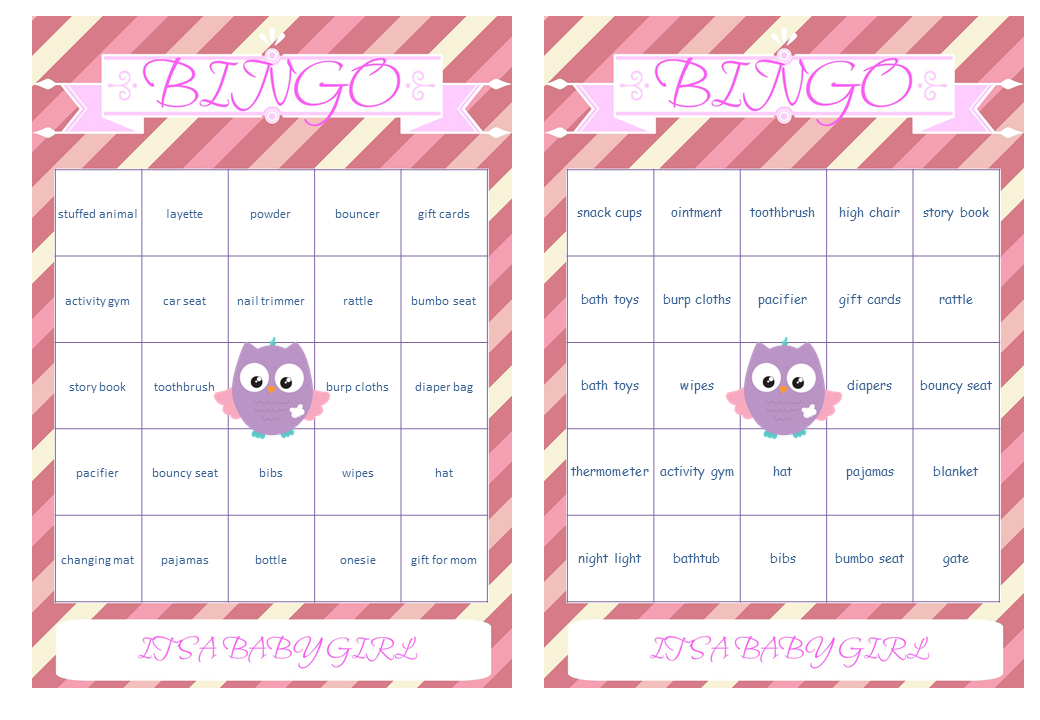 bingo baby gift word pink owl girl baby shower