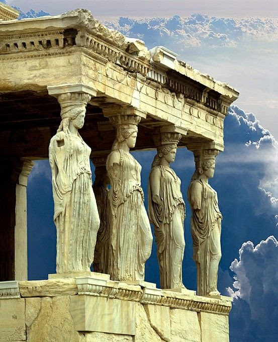 porch of the caryatids, parthenon, athens, greece.