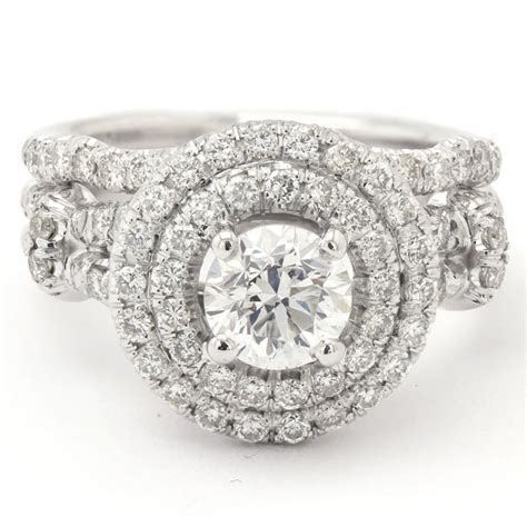 Round Cut Double Halo Diamond Engagement Ring & Matching