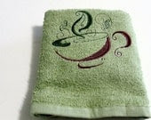 Embroidery Tea Cup Towel Cotton Kitchen Hand Towel Chervil Green