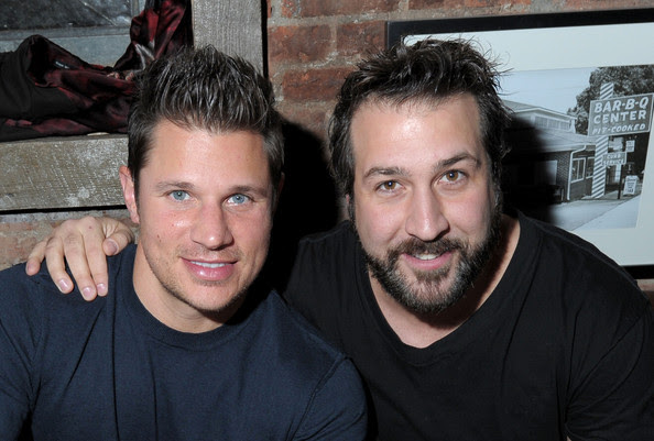 Singers (L-R) Nick Lachey and Joey Fatone attend the  Brother Jimmy's Union Square grand opening hosted by Lachey at Brother  Jimmy's on March 10, 2010 in New York City.