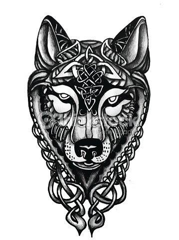 Dibujado A Mano Celta Cabeza De Lobo Para Tatuaje Arte Vectorial