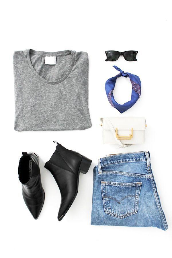 Le Fashion Blog LA Style Casual Summer Look Grey Tee Ray Ban Wayfarer Sunglasses Hermes Silk Neck Scarf Saint Laurent Mini Bag Vintage Denim Acne Jensen Boots
