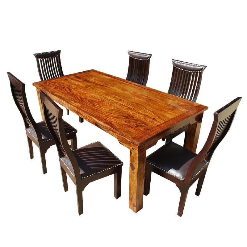 Lincoln 7pc Contemporary Solid Wood Leather Dining Room Table Chair Set