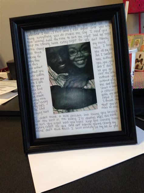 DIY picture frame for my boyfriend with love song lyrics #