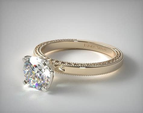 Etched Profile Solitaire Engagement Ring   14K Yellow Gold
