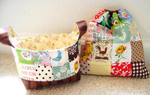 fabric basket & a matching patchwork bag