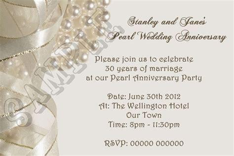 Personalised Pearl Wedding Anniversary Invitations 30th