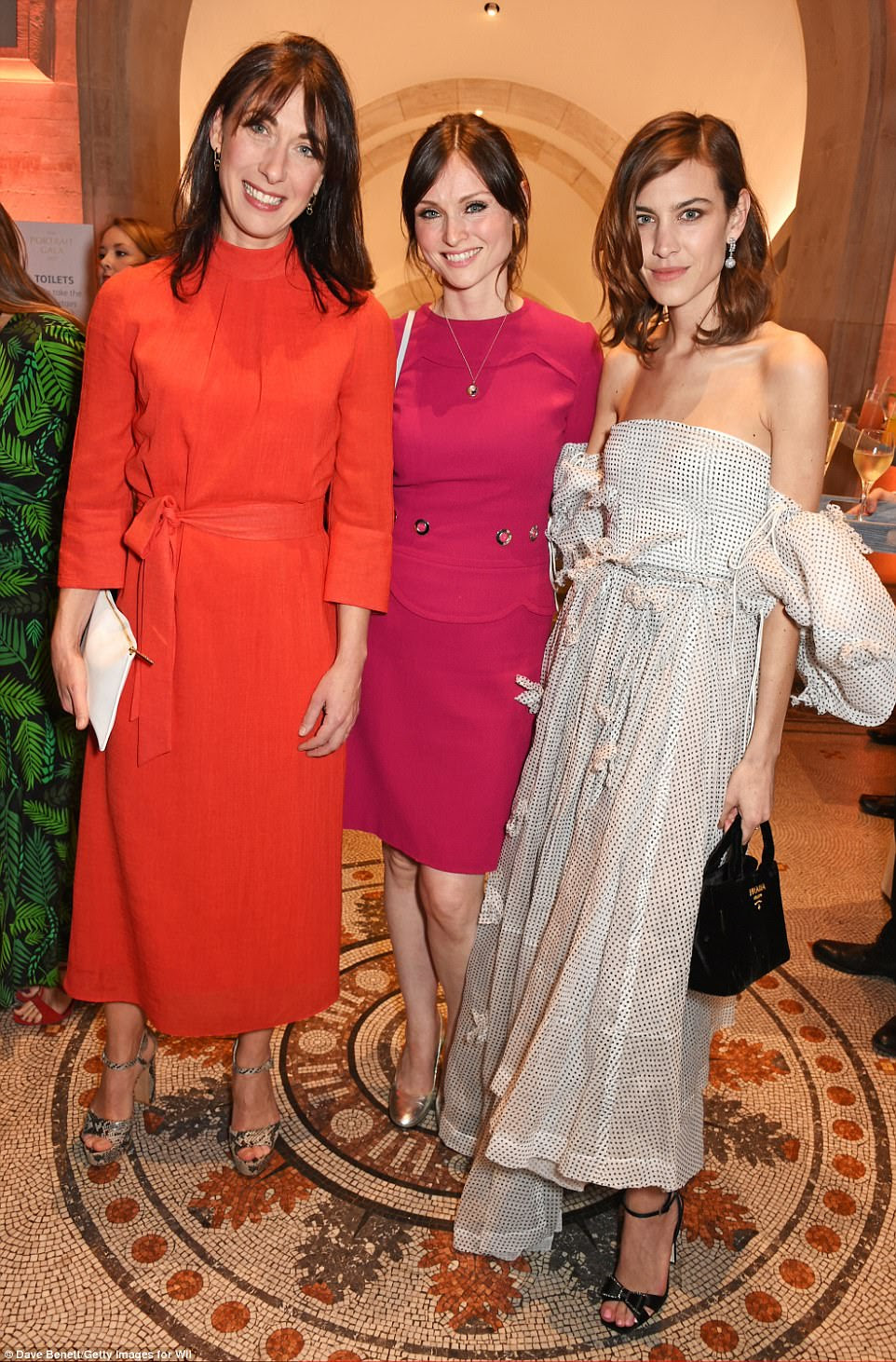 Samantha Cameron, fotografada com Sophie Ellis Bextor e Alexa Chung, promoveu sua gama de Cefinn vestindo seu próprio £ 270 papoula-vermelho, funil pescoço midi vestido