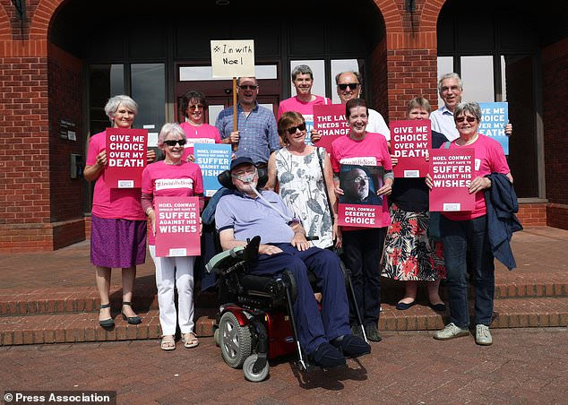 Terminally-ill Noel Conway, 68, arriving at Telford County Court with supporters to view a video link of his High Court case on assisted dying (PA/Aaron Chown)