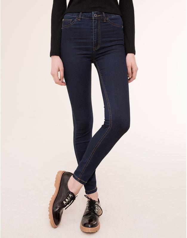 Pull&Bear - mujer - jeans - jegging básico tiro alto - azul oscuro - 09684324-I2015