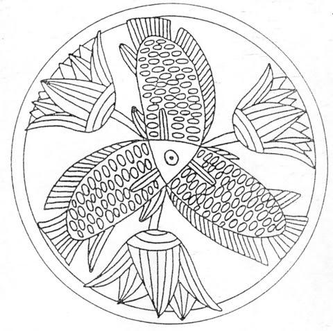 Dibujo De Mandala Con Peces Y Flores Para Colorear Dibujos Para
