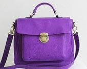classic leather satchel - vignette in vibrant violet purple  - Can Be Worn Cross-Body as Messenger Bag