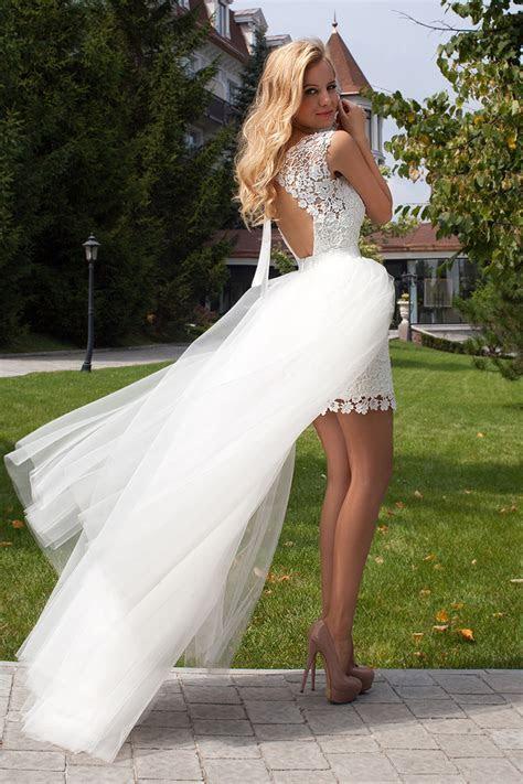 Summer Style Wedding Dress Short Front Long Back Romantic