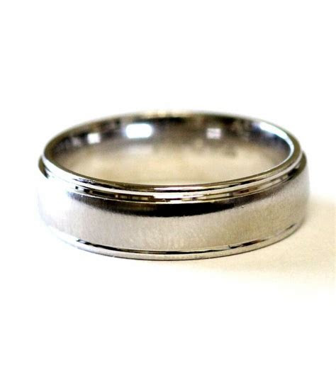 14k white gold 6.5mm mens wedding band ring estate vintage