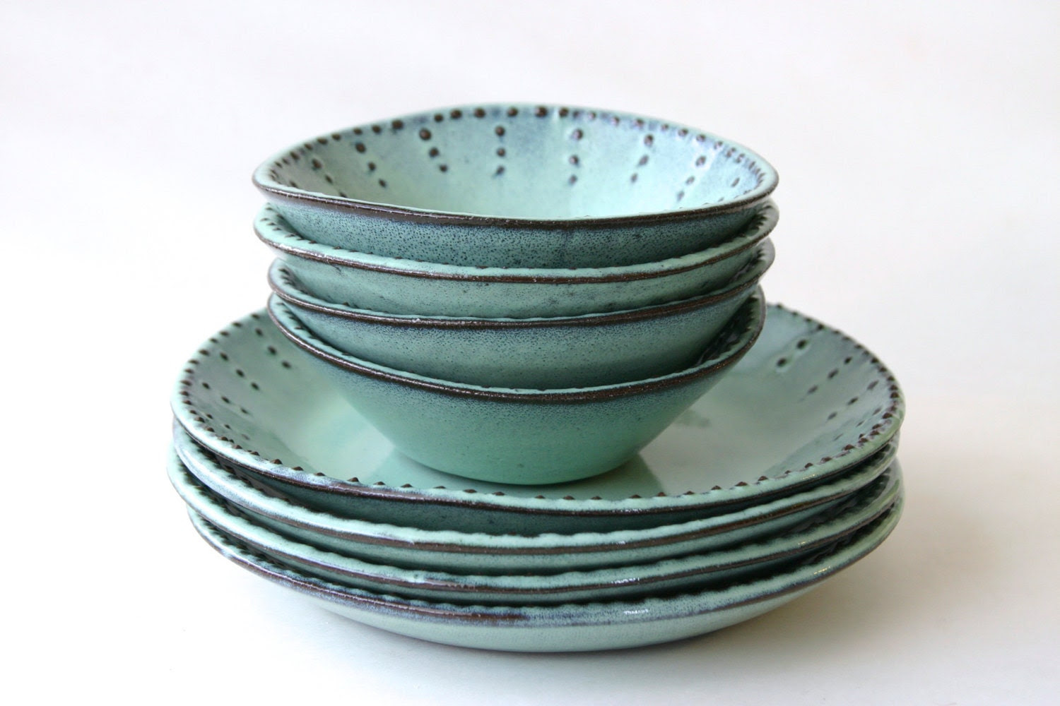 Stoneware Dinnerware Set - 8 Peices - Aqua Mist - Deep Salad Dinner Plate and Bowl - French Country - Made to Order - BackBayPottery