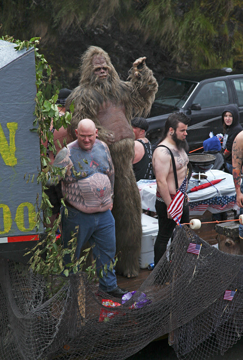 float with tattoo people and bigfoot, Ketchikan, Alaska