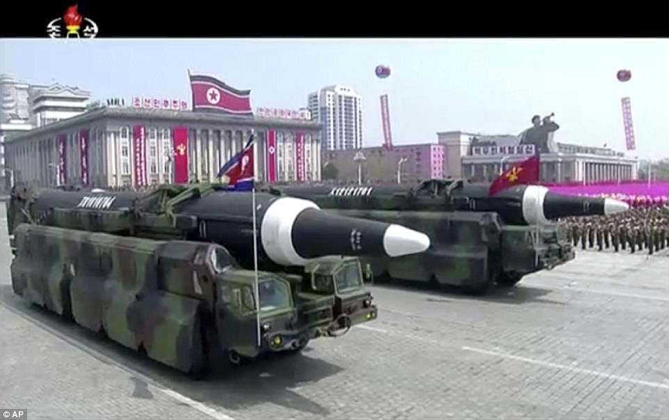 Missiles were paraded in Kim Il Sung Square Saturday in honor of the North Korea founder