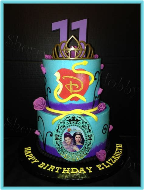 disney descendants buttercream birthday cake cakecentralcom