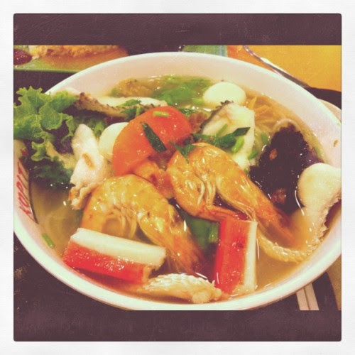 Lunch time~ seafood noodle!:D (Taken with instagram)