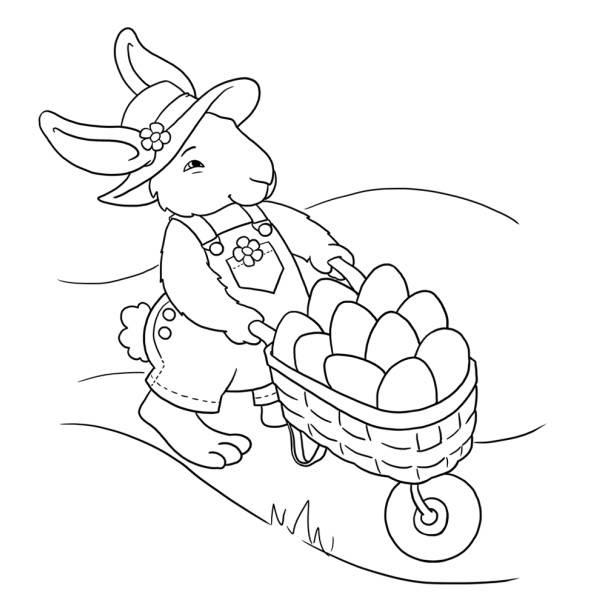 Disegno Di Coniglio Con Uova Di Pasqua Da Colorare Per Bambini