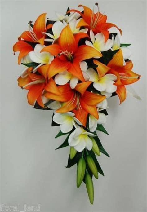 Latex White Frangipani Tiger Lily Orange Bride Wedding
