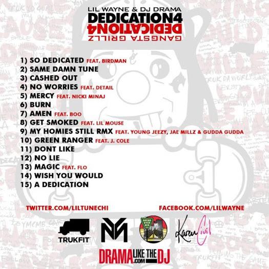 Lil Wayne Dedication 4 Mixtape Back Cover
