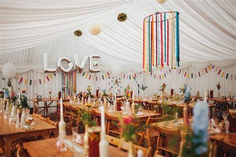Colourful marquee wedding decor. Lancashire Wedding Venue