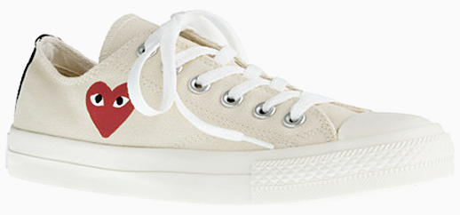 LE FASHION J CREW SALE COMME DES GARCON SNEAKERS RED HEART OFF WHITE PLAY CONVERSE 6