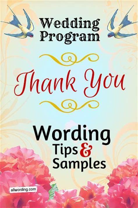 Wedding Program Thank You Wording   Tips, Wedding and Sayings