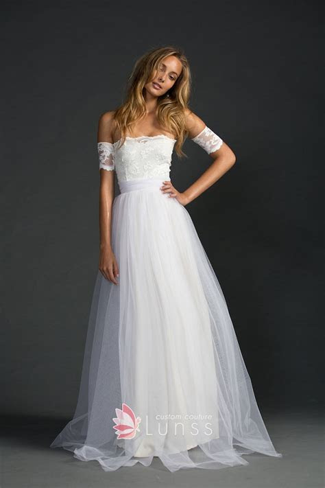 White Lace and Tulle Modern Strapless A line Floor Length