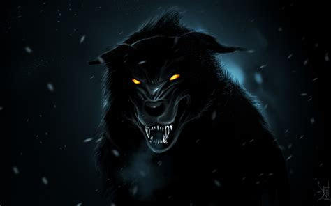 wallpapers black wolf  art night predators