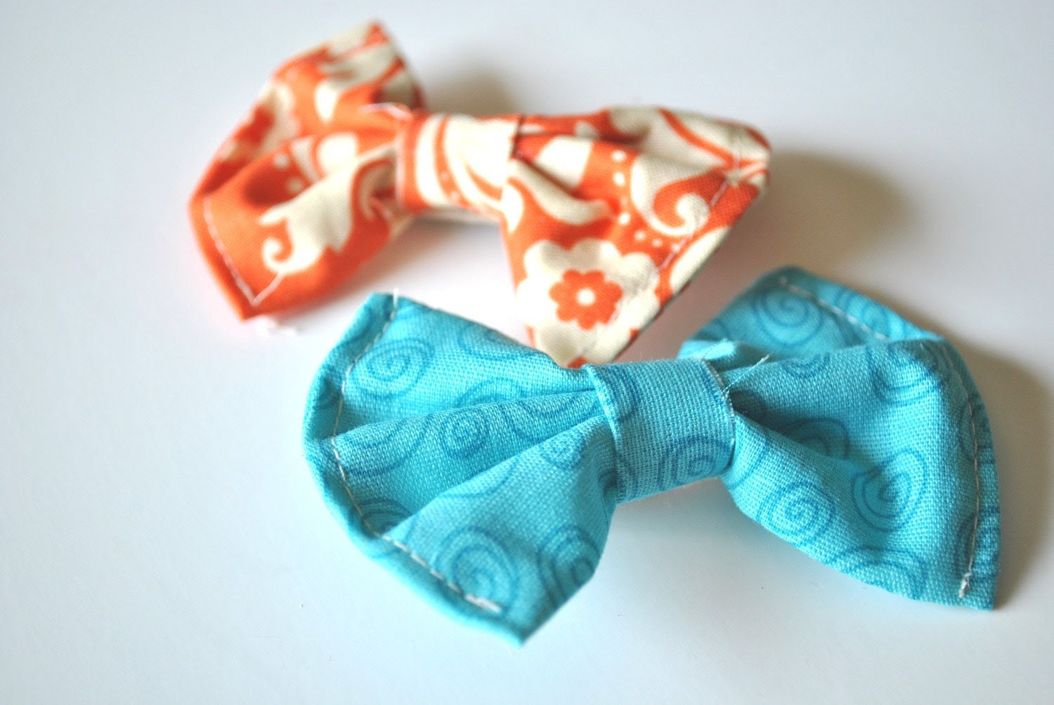 Bow Hair Clips- blue/orange