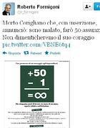 Il twitter di Formigoni che annuncia la scomparsa di Corigliano