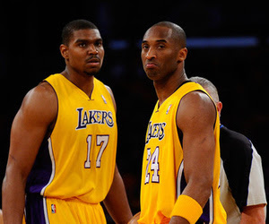 LOS ANGELES, CA - MAY 02:  Andrew Bynum #17 and Kobe Bryant #24 of the Los Angeles Lakers stand on the court before taking on the Dallas Mavericks in Game One of the Western Conference Semifinals in the 2011 NBA Playoffs at Staples Center on May 2, 2011 in Los Angeles, California. NOTE TO USER: User expressly acknowledges and agrees that, by downloading and or using this photograph, User is consenting to the terms and conditions of the Getty Images License Agreement.  (Photo by Kevork Djansezian/Getty Images)