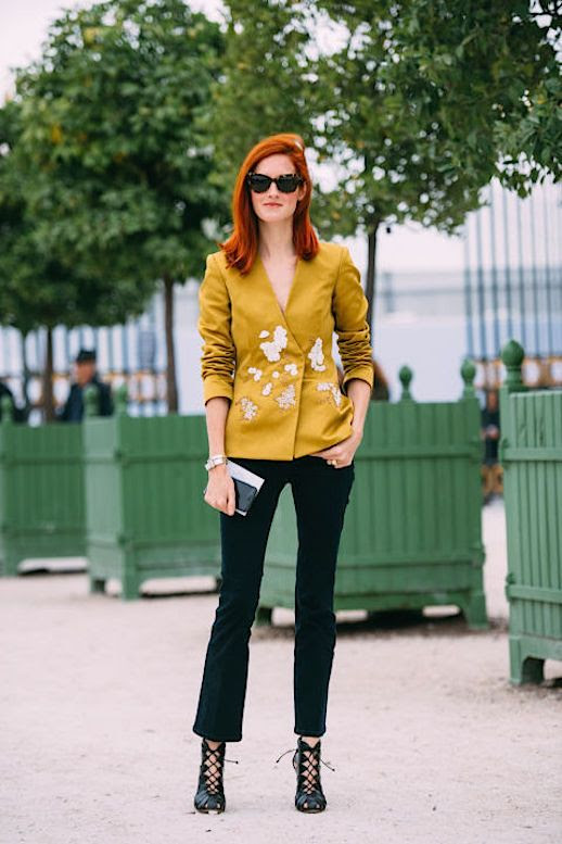 Le Fashion Blog Mustard Jacket Dark Jeans Heeled Lace Up Shoes Paris Fashion week Via Elle Uk