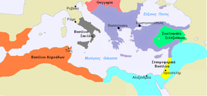 English: A map of the Byzantine Empire, c.1180...