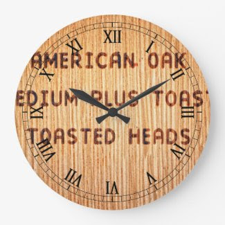American Oak Wine Barrel Stamp Round Wall Clock