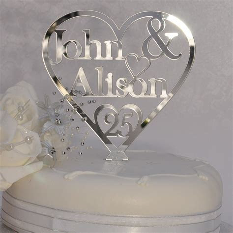 25th Silver Wedding Anniversary Personalised Names Heart